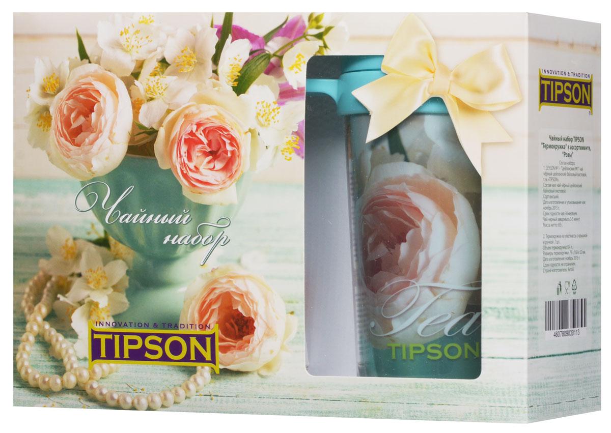 Tipson Подарочный набор Розы черный чай Ceylon №1 в комплекте с термокружкой, 85 г0120710Чайный набор Tipson Розы с термокружкой - это удачное сочетание яркой кружки и традиционного чая Ceylon №1. Заваривая чай в термокружке Розы, вы получите необыкновенный заряд бодрости и отличного настроения!Объем термокружки: 0,4 л