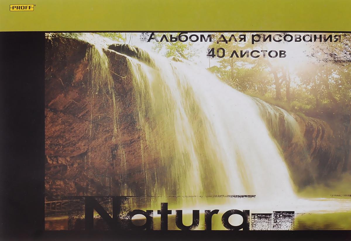 Proff Альбом для рисования Natura 40 листовАРМКСКЛ05 100/40_naturaАльбом для рисования Proff Natura порадует маленького художника и вдохновит его на творчество.Альбом изготовлен из белой офсетной бумаги с обложкой из картона, оформленной изображением водопада. В альбоме 40 листов. Высокое качество бумаги позволяет рисовать в альбоме карандашами, фломастерами, акварельными и гуашевыми красками.