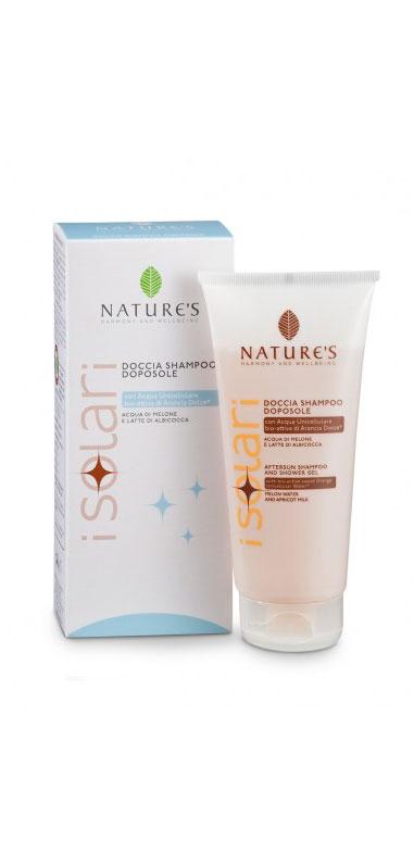 Natures Шампунь-гель для душа, после загара, 2 в 1, 200 мл286104Шампунь-гель для душа Natures после загара рекомендуется для использования после принятия солнечных ванн. Деликатно очищает кожу и волосы, удаляя остатки соли, песка и солнцезащитных средств. Предотвращает чрезмерное обезвоживание кожи, способствуя стойкому загару и придает волосам мягкость и блестящий вид. Идеальное дополнение к солнцезащитным средствам, предотвращает фотостарение, то есть преждевременное старение кожи, вызванное УФ-лучами. Характеристики:Объем: 200 мл. Производитель: Италия. Артикул:60041649. Товар сертифицирован.