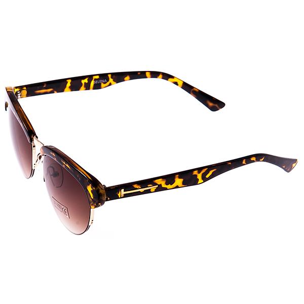 Солнцезащитные очки женские Selena, цвет: коричневый, золотой. 80029511INT-06501Солнцезащитные женские очки Selena выполнены из высококачественного пластика с элементами из металла, оправа оформлена принтом леопард, дужки дополнены декоративными элементами.Линзы данных очков с высокоэффективным UV-фильтром обеспечивают полную защиту от ультрафиолетовых лучей. Используемый пластик не искажает изображение, не подвержен нагреванию и вредному воздействию солнечных лучей.Такие очки защитят глаза от ультрафиолетовых лучей, подчеркнут вашу индивидуальность и сделают ваш образ завершенным.