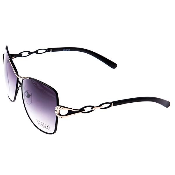 Солнцезащитные очки женские Selena, цвет: черный, золотой. 80030291BM8434-58AEСолнцезащитные женские очки Selena выполнены из металла с элементами из высококачественного пластика, оправа и дужки оформлены декоративными элементами.Линзы данных очков с высокоэффективным фильтром UV-400 Protection обеспечивают полную защиту от ультрафиолетовых лучей. Используемый пластик не искажает изображение, не подвержен нагреванию и вредному воздействию солнечных лучей.Такие очки защитят глаза от ультрафиолетовых лучей, подчеркнут вашу индивидуальность и сделают ваш образ завершенным.