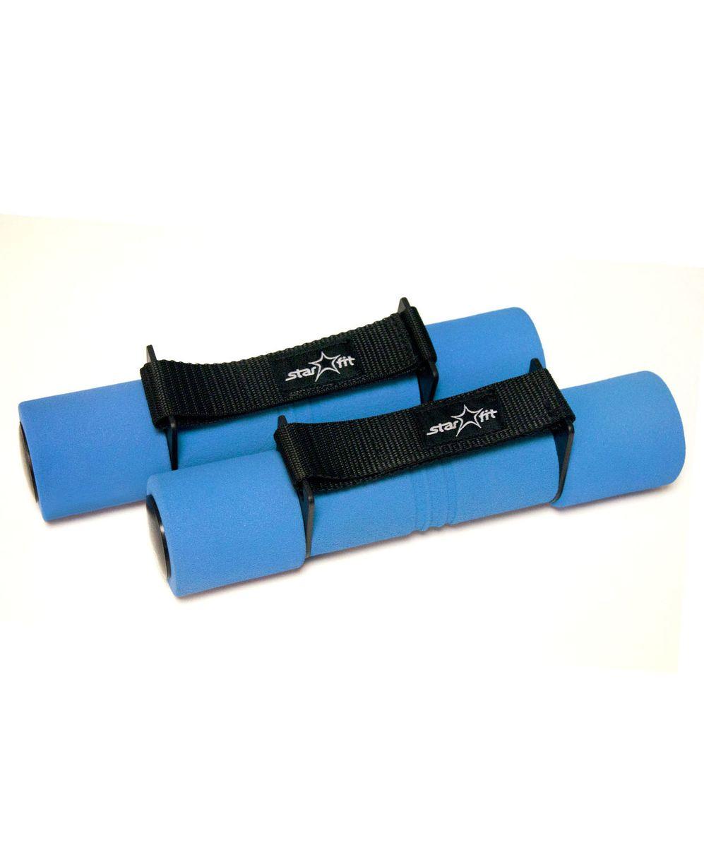 Гантель неопреновая Starfit, цвет: синий, черный, 2 кг, 2 штУТ-00007093Беговая гантель Star Fit выполнена из высококачественного металла с мягким неопреновым покрытием и имеет оптимальный размер для занятий спортом. Такую гантель удобно держать в руках, а неопрен в течение всей тренировки отводит выделяющуюся влагу из зоны контакта ладони с рукояткой гантели, оставляя ее сухой и не позволяя изделию выскальзывать. Она помогает укрепить мышцы рук, грудной клетки, верхней части спины и плеч. Этот спортивный снаряд является идеальной дополнительной нагрузкой для любых физических упражнений. Для себя можно подобрать подходящий комплекс и неуклонно худеть, разминаясь с гантелями. В скором времени стройная фигура и отличное самочувствие станут наградой за постоянные занятия. Такие гантели можно фиксировать на запястье, чтобы было удобно выполнять упражнения на бегу.
