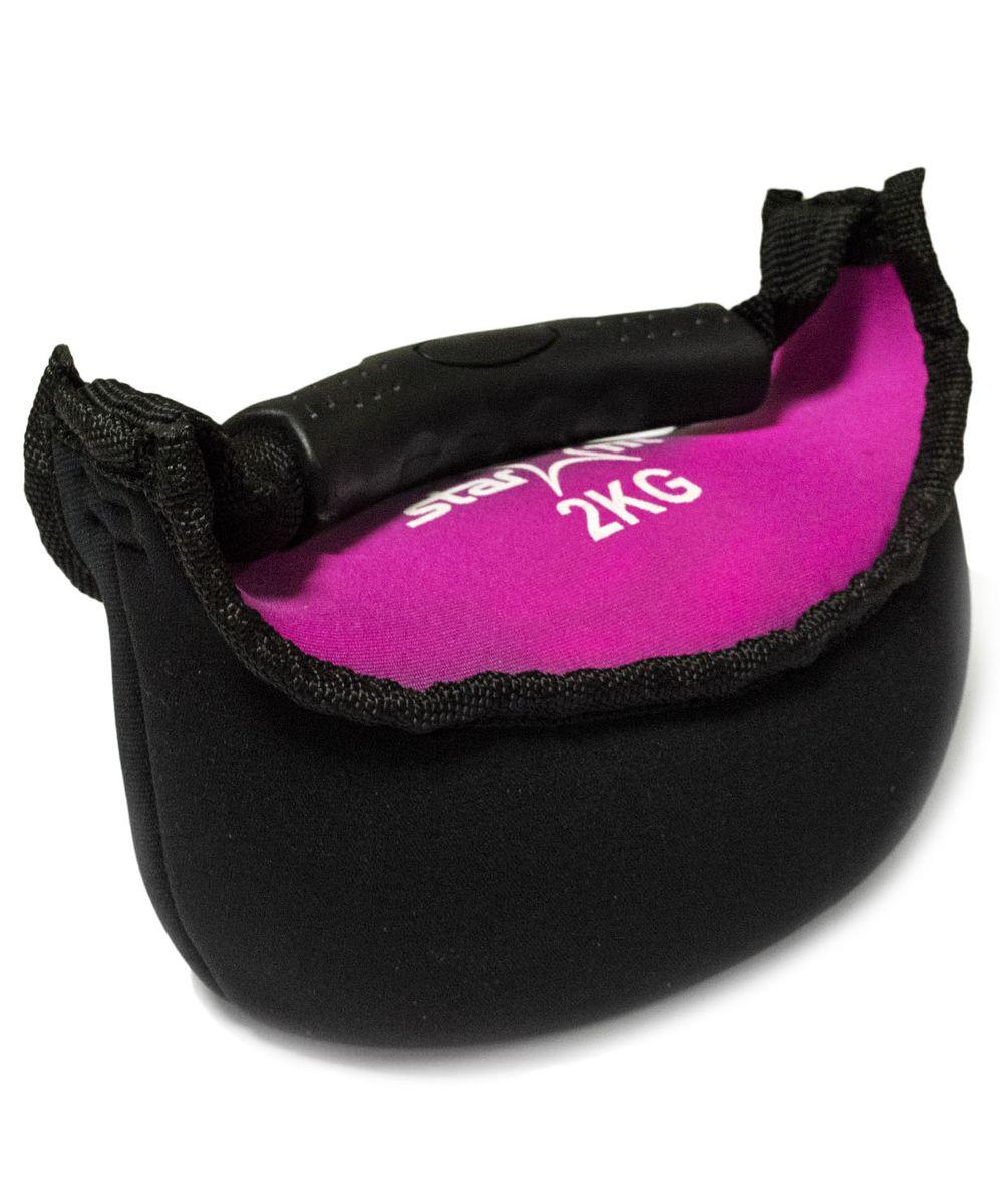 Гиря мягкая неопреновая  Starfit , цвет: черный, розовый, 2 кг - Оборудование для силовых тренировок