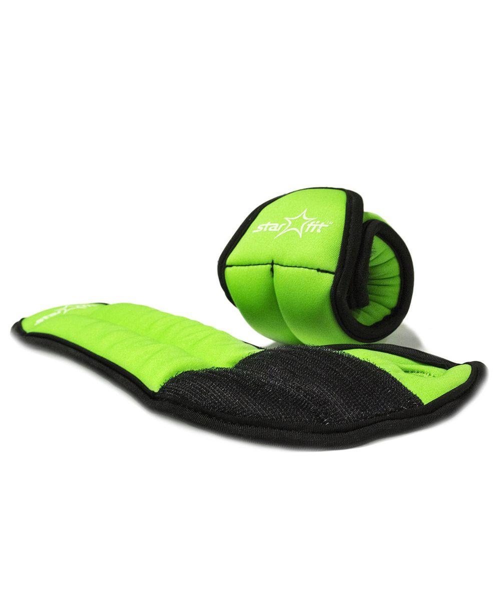 Утяжелители для рук Starfit WT-201, цвет: зеленый, черный, 0,5 кг, 2 штУТ000001705WT-201 - это утяжелители на запястье с фиксацией на большой палец. Утяжелители помогут тренирующемуся быстрее сбросить лишний вес, добавить отягощения в тренировку мышц, будь это групповая тренировка, функциональный тренинг, бодибилдинг или спортивные единоборства. Утяжелители имеют компактный размер и не займут много места при хранении и переноске. Оригинальный современный дизайн, приятное цветовое оформление и качество самих утяжелителей будут несомненно радовать вас во время тренировок!Вес одного утяжелителя: 0,5 кг.Количество утяжелителей: 2 шт.