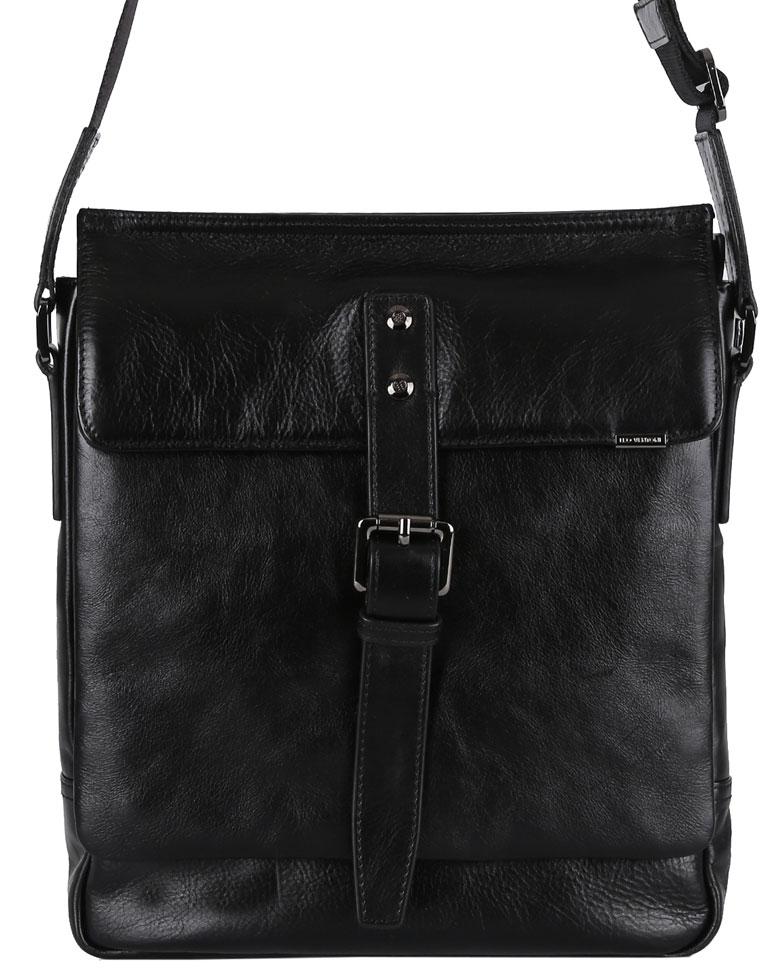 Сумка мужская Leo Ventoni, цвет: черный. 03002297S76245Стильная мужская сумка Leo Ventoni изготовлена из натуральной кожи.Модель состоит из одного отделения, закрывается на застежку-молнию и дополнительно клапаном на магнит. Клапан украшен декоративным хлястиком с пряжкой. Внутри сумка содержит врезной карман на пластиковой молнии, два прорезных кармана для мелочей и два держателя для шариковых ручек. На задней стенке сумки расположен врезной карман на металлической застежке-молнии. Спереди под клапаном дополнительный накладной карман на молнии. Изделие оснащено несъемным наплечным ремнем, длина которого регулируется. Сумка декорирована металлическими элементами с логотипом бренда. Прилагается текстильный фирменный чехол для хранения. Сумка Leo Ventoni поможет вам подчеркнуть чувство стиля и завершить выбранный образ.