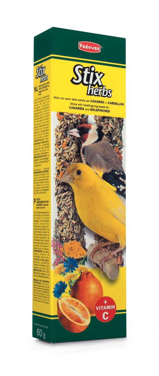 Палочки Padovan Антистрессовые для канареек и экзотических птиц, с травами, 2 х 60 г0120710Лакомство - две аппетитные палочки, спрессованные из тщательно подобранной смеси разнообразных семян, фруктов и полезных пищевых добавок.Состав: канареечное семя, льняное семя, масличный нуг (гвизоция абиссинская), салат, фенхель, цикорий, апельсин, печенье: пшеничная мука, дрожжи, пищевые красители, минералы, консерванты, натуральные вкусовые добавки.