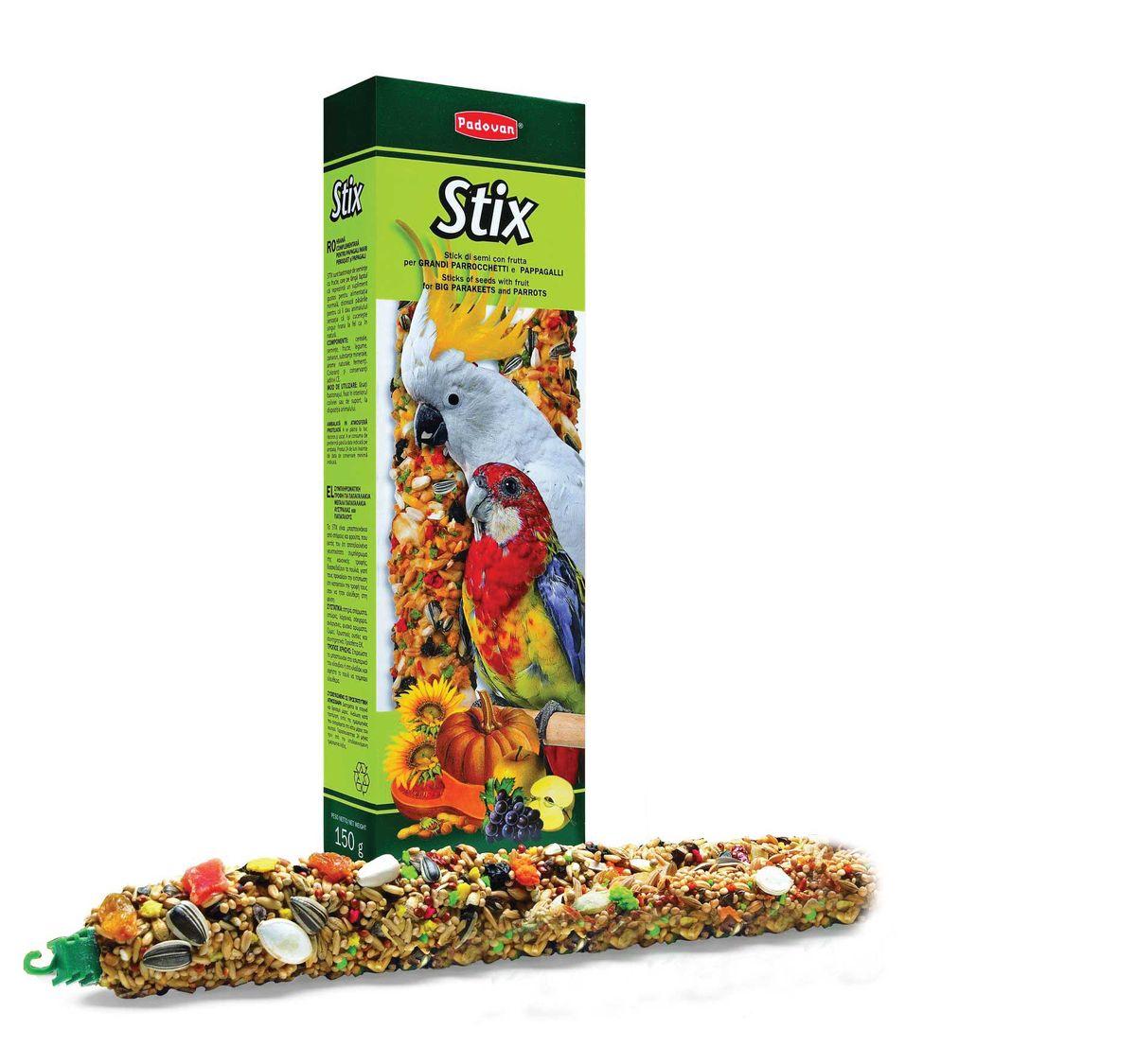 Палочки Padovan Фруктовые для крупных и средних попугаев, 2 х 150 г0120710Лакомство - две аппетитные палочки, спрессованные из тщательно подобранной смеси разнообразных семян и полезных пищевых добавок.Предназначено для крупных попугаев. Пригодно для питания и других птиц. Снабжены приспособлением для удобного крепления лакомства внутри клетки.Состав: подсолнечник, кукуруза, пшеница, канареечное семя, красный перец, печенье: пшеничная мука, дрожжи, пищевые красители, декстроза, минералы, консерванты, натуральные вкусовые добавки.