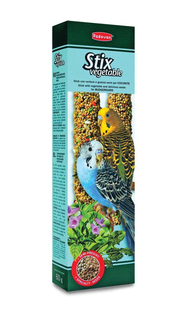 Палочки Padovan Овощныедля волнистых попугаев, 2 х 60 г0120710Лакомство — две аппетитные палочки, спрессованные из тщательно подобранной смеси семян, овощей и полезных пищевых добавок.Предназначено для волнистых попугаев. Пригодно для питания и других птиц. Снабжены приспособлением для удобного крепления лакомства внутри клетки.Состав: белое, красное и желтое просо, канараеечное семя, итальянское просо, перилла (мята пурпурная, базилик китайский), кунжут, морковь, шпинат, печенье: пшеничная мука, дрожжи, пищевые красители, декстроза, минералы, консерванты, натуральные вкусовые добавки.