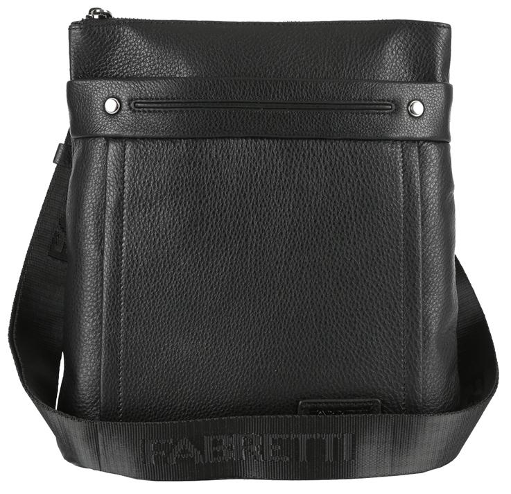 Сумка мужская Fabretti, цвет: черный. 7207FABS76245Стильная мужская сумка Fabretti изготовлена из натуральной кожи зернистой фактуры и застегивается на застежку-молнию. Сумка имеет одно основное вместительное отделение. Модель содержит прорезной карман на пластиковой молнии, нашивной карман для телефона и два держателя для шариковых ручек. На лицевой стороне расположен прорезной карман на молнии. На задней стенке дополнительный накладной карман на застежке-молнии. Сумка декорирована нашивкой с тиснением логотипа бренда, прострочками и металлическими элементами. Изделие оснащено несъемным текстильным плечевым ремнем, который регулируется по длине. Ремень выполнен с тиснением бренда. Прилагается текстильный фирменный чехол для хранения.Сумка Fabretti поможет вам подчеркнуть чувство стиля и завершить выбранный образ.