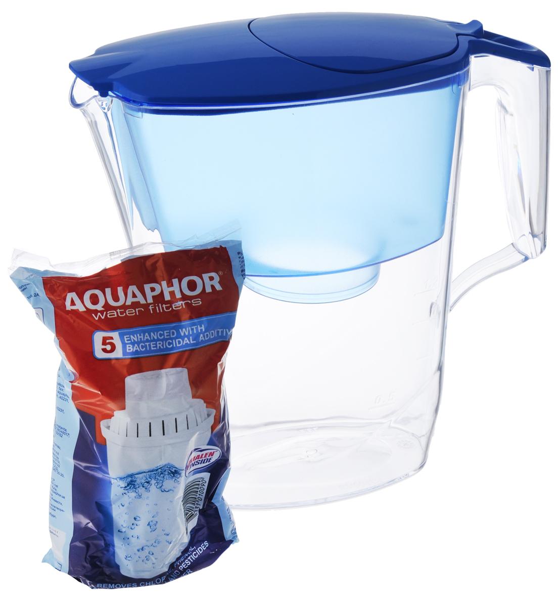 Фильтр-кувшин для воды Аквафор Ультра, цвет: прозрачный, голубой, 2,5 лВетерок 2ГФФильтр-кувшин Аквафор Ультра позволяет иметь под рукой довольно большое количество очищенной воды, готовой к использованию. Объем кувшина - 2,5 л, объем воронки - 1,1 л. Используется универсальный сменный фильтрующий модуль В100-5, усиленный бактерицидной добавкой. Компания Аквафор создавалась как высокотехнологическая производственная фирма, охватывающая все стадии создания продукции от научных и конструкторских разработок до изготовления конечной продукции. Основное правило Аквафор - стабильно высокое качество продукции и высокие технологии, поэтому техническое обновление производства происходит каждые 3-4 года, для чего покупаются новые модели машин и аппаратов.Собственное производство уникальных сорбентов и постоянный контроль на всех этапах производства позволяют Аквафору выпускать высококачественный продукт, известность которого на рынке быстро растет.Материал: пластик.Общий размер фильтр-кувшина: 25 х 10 х 24,5 см.Комплектация: кувшин, воронка, крышка с носиком, 1 картридж B100-5. Имеется инструкция по эксплуатации на русском языке.