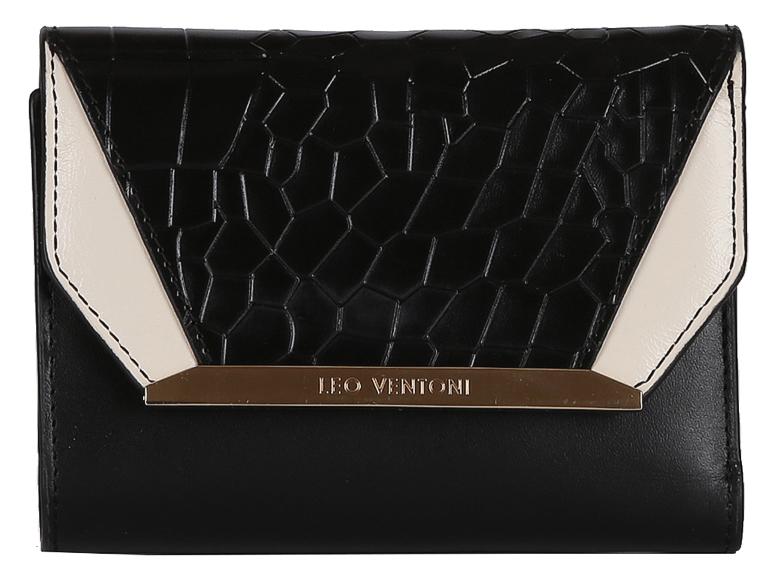 Кошелек женский Leo Ventoni, цвет: черный. L330914BM8434-58AEКошелек женский Leo Ventoni выполнен из натуральной кожи. Внутри: три отделения для купюр, дополнительный карман и 7 держателей для кредитных и дисконтных карт, закрывается клапаном на кнопке. Отделение для мелочи расположено на внешней стороне закрывается на металлическую молнию. Фурнитура под золото.