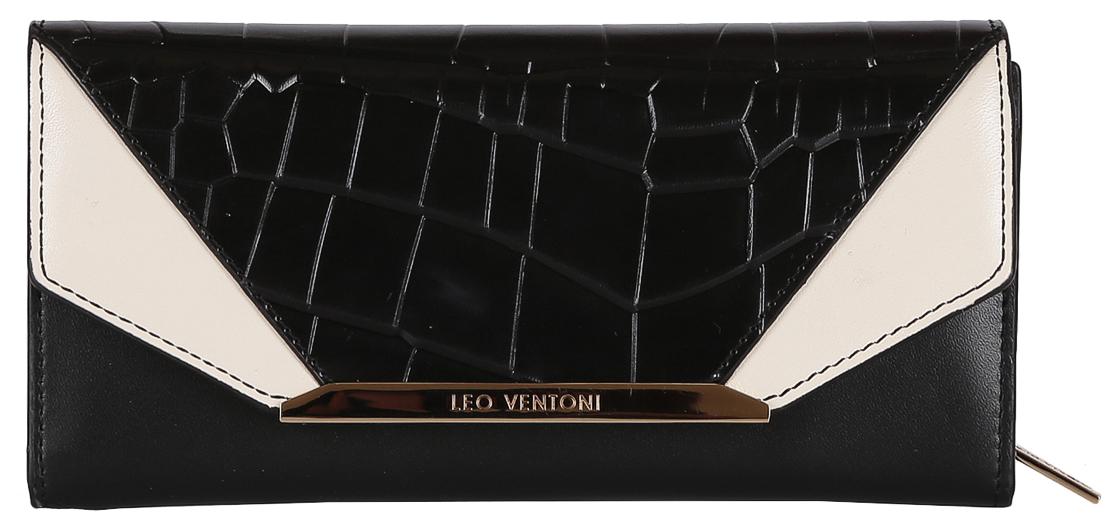 Кошелек женский Leo Ventoni, цвет: черный. L330915392678Женский Кошелек Leo Ventoni выполнен из натуральной кожи. Внутри: одно отделение для купюр, в котором имеется 12 держателей для пластиковых карт, отделение для монет, имеющее два кармана и закрывающееся на пластиковую молнию. Имеется ещё два дополнительных кармана для мелочей. Закрывается Кошелек клапаном на кнопке. Фурнитура золото.