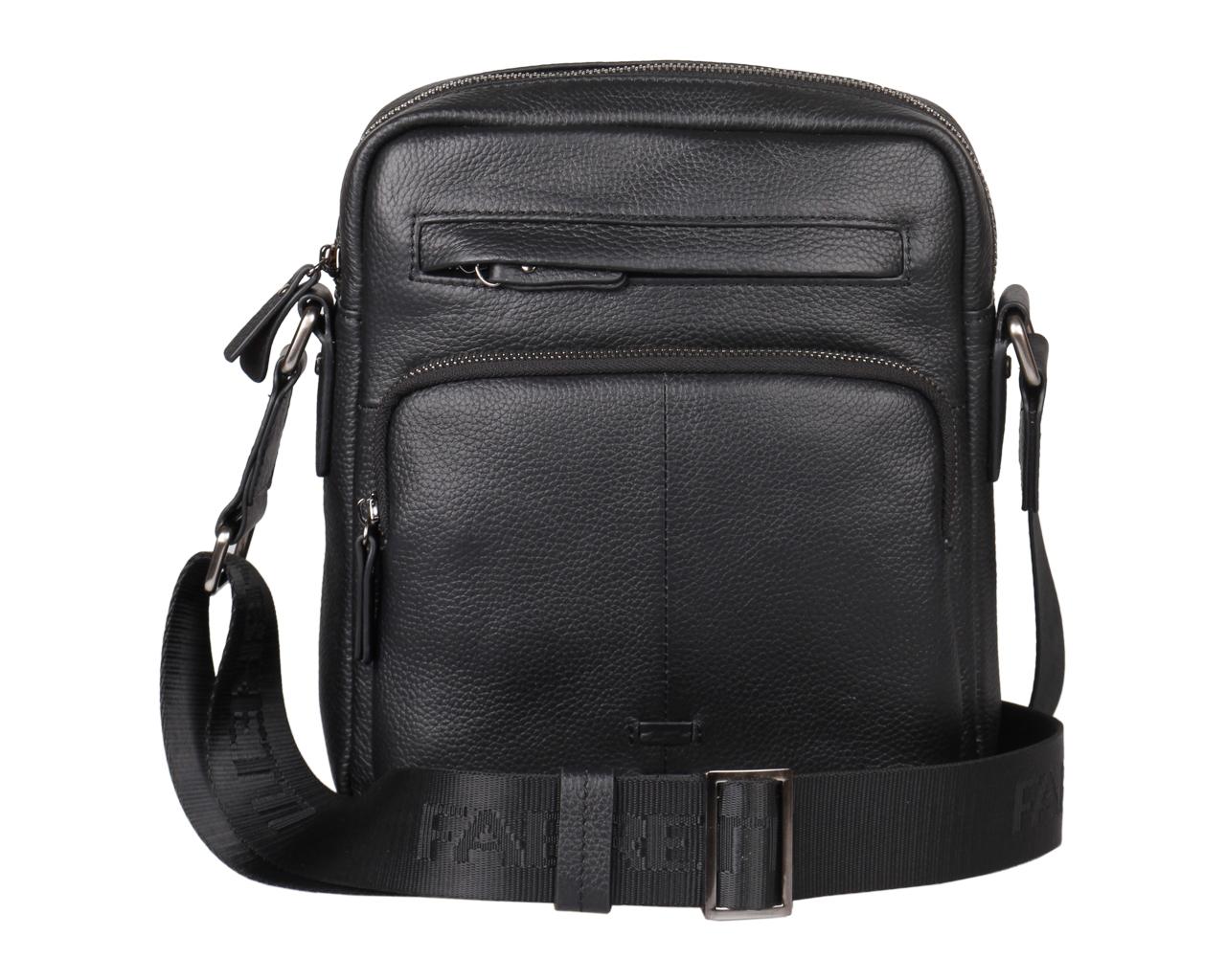 Сумка мужская Fabretti, цвет: черный. 5557FAB8-2Мужская сумка Fabretti выполнена из натуральной кожи с фактурным тиснением. Модель имеет одно основное отделение, которое закрывается на застежку-молнию. Внутри находится накладной открытый карман, прорезной карман на застежке-молнии и два держателя для авторучек. Снаружи, на передней стенке расположены прорезной и накладной карманы на застежках-молниях, на задней стенке - накладной карман на магнитной кнопке.Изделие оснащено текстильным плечевым ремнем, который регулируется по длине. Изделие упаковано в текстильный фирменный чехол для хранения. Этот стильный аксессуар станет изысканным дополнением к вашему образу.