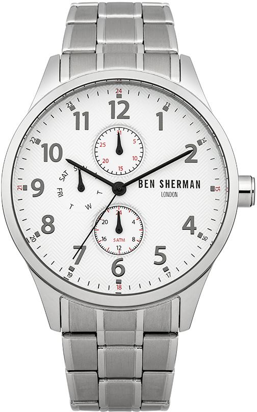Наручные часы мужские Ben Sherman, цвет: серый металлик. WB004SMBM8434-58AEМногофункциональный механизм 6P27 Miyota; Корпус из нержавеющей стали; Размер корпуса o 43mm; Минеральное стекло; Белый циферблат; Нет камней; Браслет; Водозащита 5 ATM