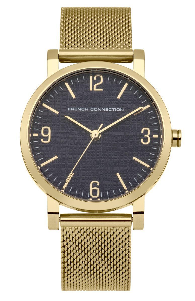Наручные часы женские French Connection, цвет: золотой. FC1249UGMBM8434-58AEТрехстрелочный механизм 2035; Корпус из нержавеющей стали; Размер корпуса o 33 mm; Минеральное стекло; Циферблат синего цвета; Браслет; Водозащита 3 ATM