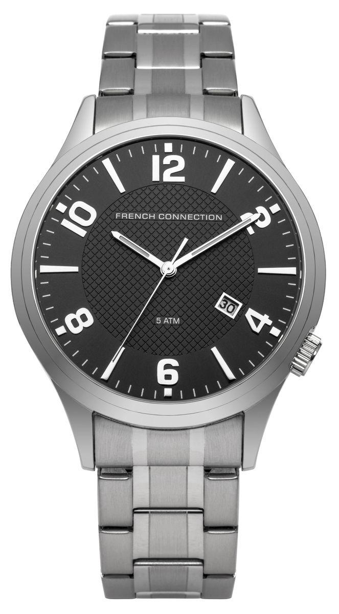 Наручные часы мужские French Connection, цвет: серый металлик. FC1260SMBM8434-58AEТрехстрелочный механизм (дата) 2115; Корпус из нержавеющей стали; Размер корпуса O 44mm; Минеральное стекло; Циферблат черного цвета; Браслет; Водозащита 5 ATM