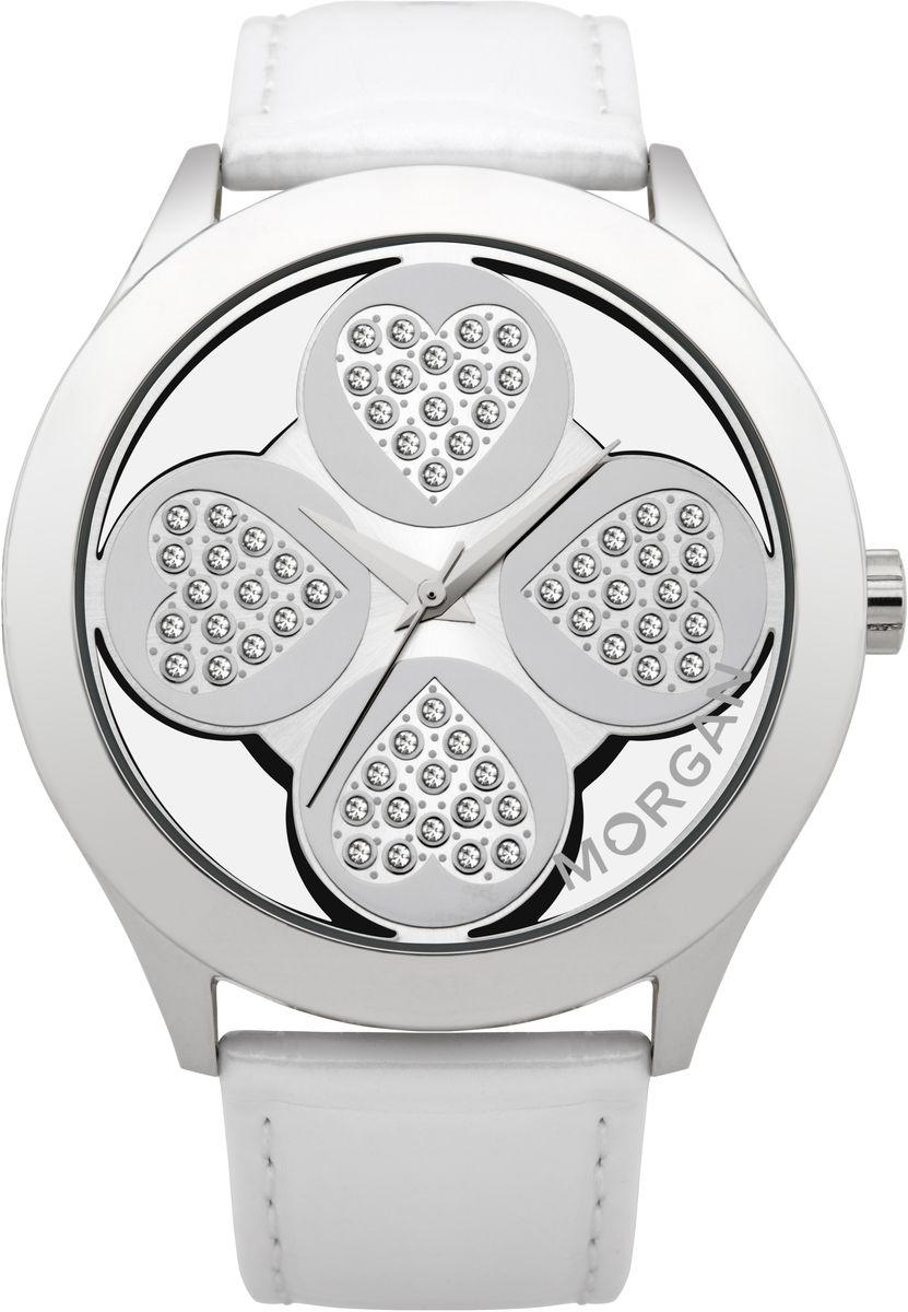 Наручные часы женские Morgan, цвет: серый металлик, белый. M1133WBRBM8434-58AEТрехстрелочный механизм Miyota PC21AE; Сталь; Полированный корпус; Минеральное стекло; Циферблат в форме клевера с прозрачными вставками; Чешские кристаллы; Ремень из натуральной кожи белого цвета; Водозащита 3 ATM