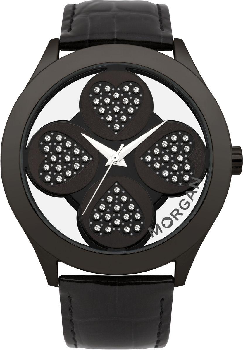 Наручные часы женские Morgan, цвет: черный. M1133BBBRBM8434-58AEТрехстрелочный механизм Miyota PC21AE; Сталь; IP-покрытие черного цвета; Полированный корпус; Минеральное стекло; Циферблат в форме клевера с прозрачными вставками; Чешские кристаллы; Ремень из натуральной кожи черного цвета; Водозащ