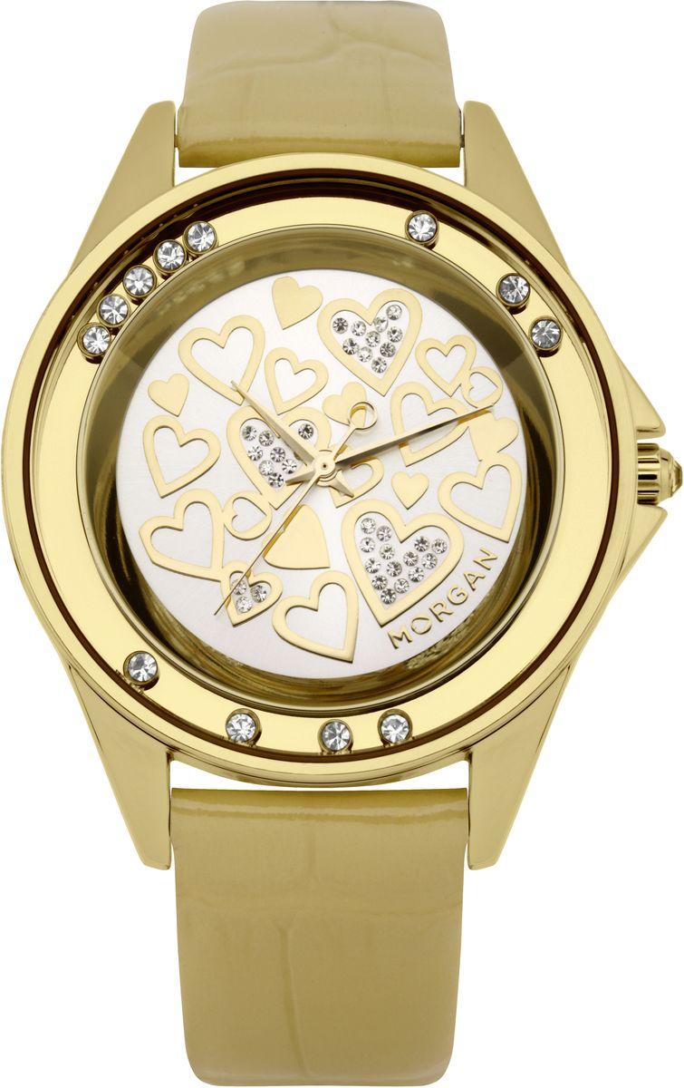 Наручные часы женские Morgan, цвет: золотой. M1136GBRBM8434-58AEТрехстрелочный механизм Miyota; Сталь; IP-покрытие цвета желтого золота; Полированный корпус; Плавающие кристаллы по безелю; Минеральное стекло; Зеркальный циферблат; Чешские кристаллы; Ремень из натуральной кожи золотого цвета; Водозащита 3 ATM