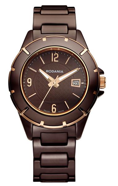 Наручные часы женские Rodania, цвет: коричневый, коричневый. 2508545BM8434-58AEОригинальные и качественные часы Rodania