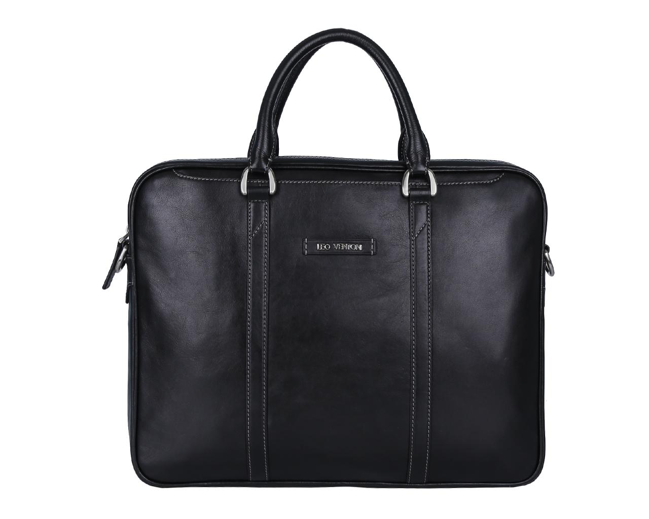 Сумка мужская Leo Ventoni, цвет: черный. 03002386L39845800Стильная мужская сумка Leo Ventoni выполнена из натуральной гладкой кожи и закрывается на металлическую застежку-молнию. Внутренняя часть изделия выполнена из текстиля и натуральной кожи. Отделение сумки содержит боковой мягкий карман с хлястиком на липучке для планшета, врезной карман на пластиковой молнии, два прорезных кармана и два держателя для шариковых ручек. На передней и задней стенках изделия расположены глубокие прорезные открытые карманы. Сумка декорирована металлической надписью логотипа бренда и прострочками. Изделие оснащено удобными ручками для переноски. К сумке прилагаются наплечный ремень регулируемой длины и фирменный текстильный чехол для хранения.Функциональная мужская сумка Leo Ventoni станет стильным аксессуаром для делового мужчины.