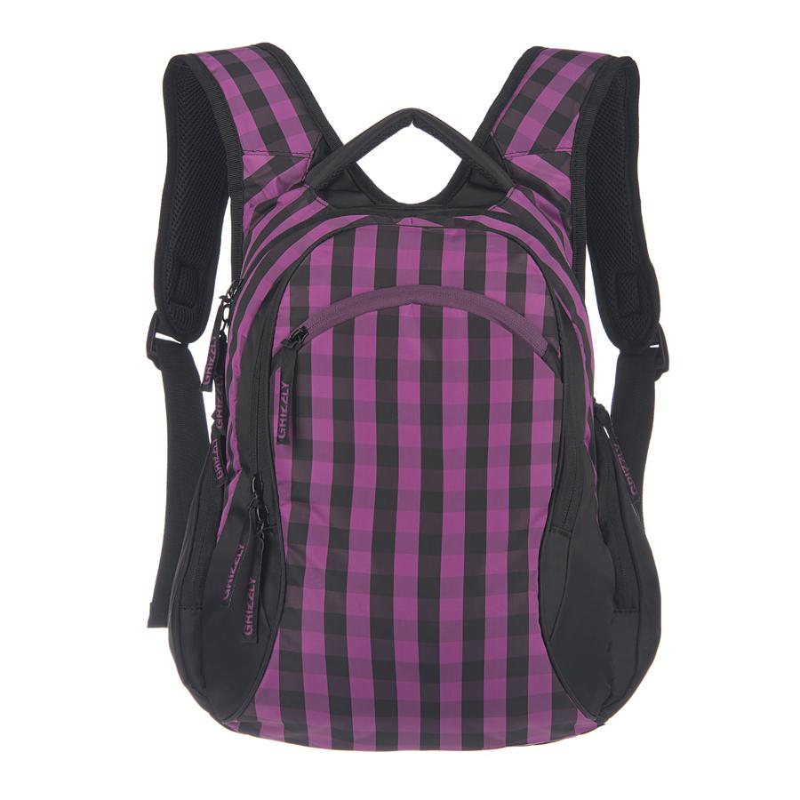 Рюкзак городской женский Grizzly, цвет: черный, фиолетовый, 24 л. RD-640-1/2 чемодан grizzly цвет фиолетовый черный 40 л lt 595 20 3