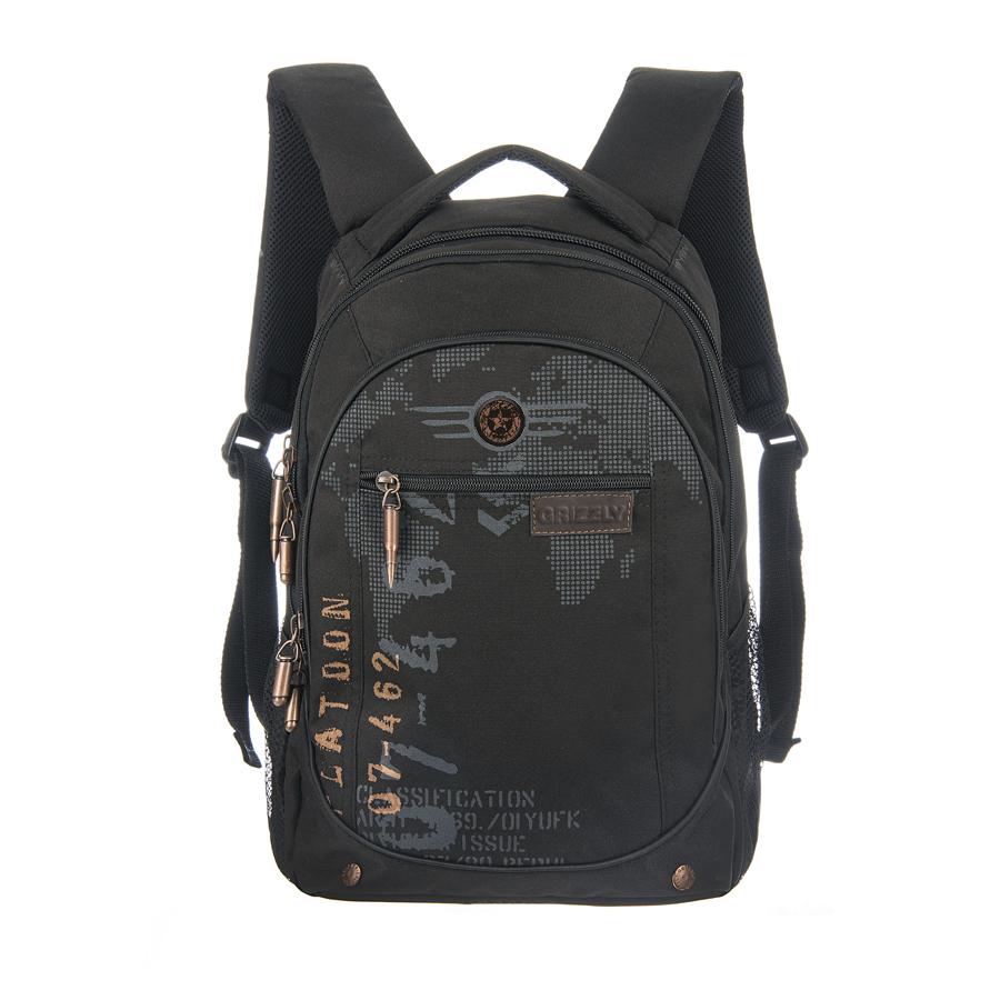Рюкзак городской Grizzly, цвет: черный, 25 л. RU-501-1/3 чемодан grizzly цвет фиолетовый черный 40 л lt 595 20 3