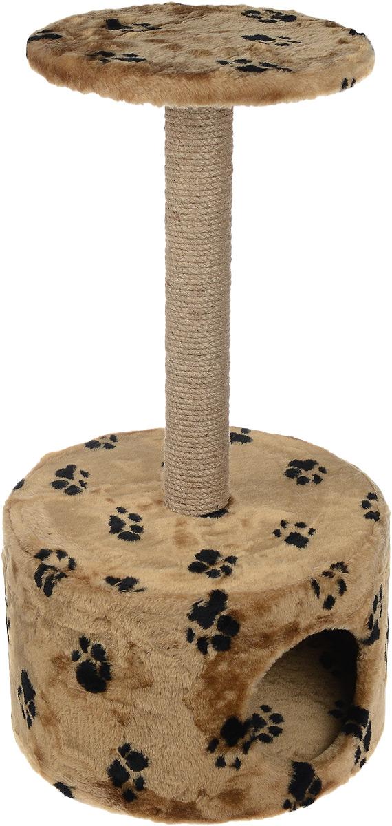 Домик для кошек Пушок, круглый, с когтеточкой, цвет: коричневый, черный, 42 х 42 х 80 см16393Большой, уютный домик с когтеточкой Пушок отлично подойдет для котят и взрослых кошек. Круглый домик расположен на небольшой подставке, а сверху устанавливается когтеточка. Такой домик станет не только идеальным местом для подвижных игр вашего любимца, но и местом для отдыха. Благодаря столбику-когтеточке, обернутой веревками из сизаля, ваша кошка удовлетворит природную потребность точить когти, что поможет сохранить вашу мебель и ковры. Для приучения любимца к когтеточке можно натереть ее сухой валерьянкой или кошачьей мятой. Диаметр отверстия домика: 18 см.Длина когтеточки: 49 см.