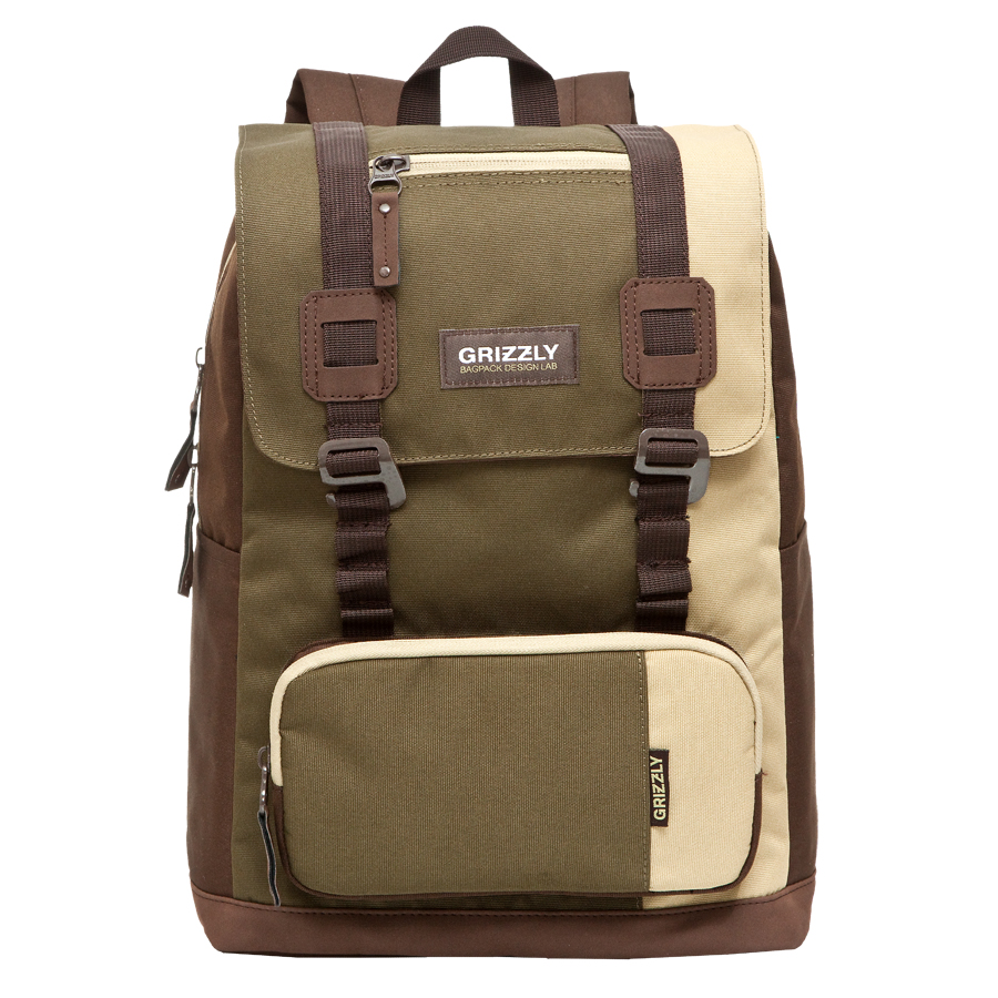 Рюкзак городской Grizzly, цвет: коричневый, хаки, 23 л. RU-619-2/3 рюкзак городской мужской grizzly цвет красный ru 715 2 3