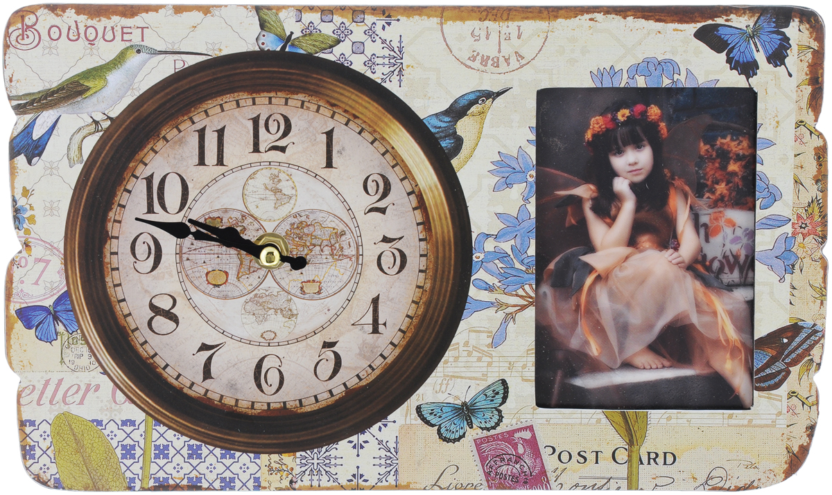 Часы настольные Феникс-Презент Осенние мотивы, с фоторамкой, 30 х 18 х 4,5 см300074_ежевикаНастольные часы Феникс-Презент Осенние мотивы выполнены из МДФ и декорированы оригинальным рисунком. Изделие оснащено фоторамкой, защищенной стеклом. С оборотной стороны имеется пластиковая ножка для размещения часов на ровной горизонтальной поверхности.Часы работают от одной батарейки типа АА 1,5V (не входит в комплект). Настольные часы Феникс-Презент Осенние мотивы - прекрасный подарок и красивый предмет для декора интерьера.Диаметр циферблата: 15 см.Размер фоторамки: 12 х 8 см.