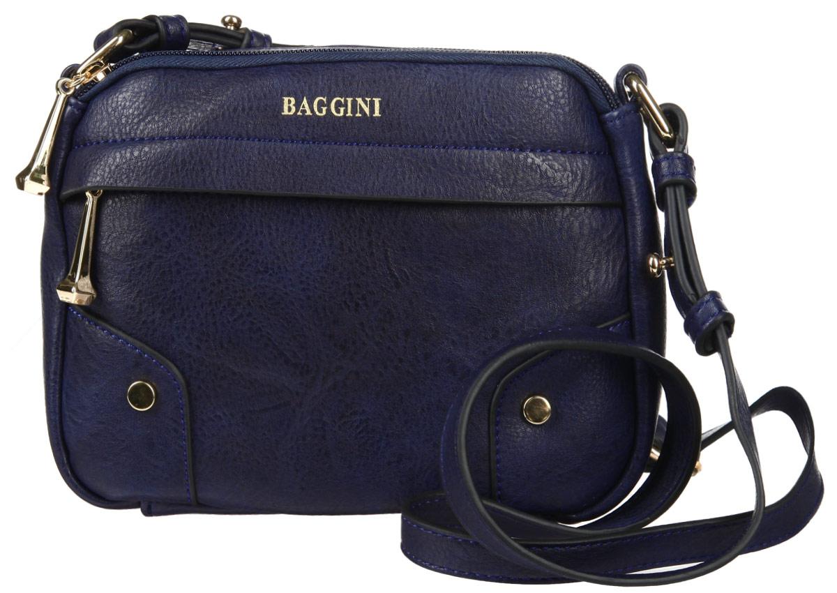Сумка женская Baggini, цвет: синий. 29555/43967-637T-17s-01-42Стильная сумка женская Baggini выполнена из искусственной кожи, оформлена металлической фурнитурой и символикой бренда.Изделие содержит два отделения, каждое из которых закрывается на молнию. Внутри расположен врезной карман на молнии. Снаружи, на лицевой стороне изделия, расположен врезной карман, застегивающийся на молнию. Сумка оснащена плечевым ремнем регулируемой длины.Оригинальный аксессуар позволит вам завершить образ и быть неотразимой.