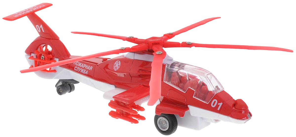 """Вертолет инерционный ТехноПарк """"Пожарная служба"""" привлечет к себе внимание не только детей, но и взрослых. Модель является уменьшенной копией в масштабе 1:43. Вертолет оснащен световыми и звуковыми эффектами. Игрушка обладает инерционным ходом - вертолет необходимо отвести назад, затем отпустить - и он быстро поедет вперед. Такая модель станет отличным подарком не только любителю воздушной техники, но и человеку, ценящему оригинальность и изысканность. Рекомендуется докупить 3 батарейки напряжением 1,5V типа LR41 (товар комплектуется демонстрационными)."""