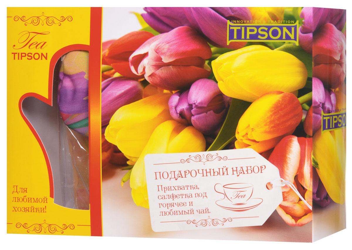 Tipson Подарочный набор Джульетта черный чай Ceylon №1 с прихваткой и салфеткой под горячее в подарок0120710Что будет приятно получить в качестве подарка лицам прекрасного пола? Конечно же цветы и что-то милое и полезное. Все эти качества несет в себе праздничный чайный набор Tipson Джульетта с прихваткой и салфеткой под горячее. Яркая коробка из дизайнерского картона, украшенная весенним цветочным принтом, несомненно вызовет только положительные эмоции, а качественный черный чай Ceylon №1 в комплекте с плотной варежкой-прихваткой и салфеткой под горячее придадут набору дополнительную полезность.Размер прихватки: 170 мм х 280 ммМатериал прихватки: полиэстер 100%Размер салфетки: 200 мм х 200 ммМатериал салфетки: полиэстер 100%