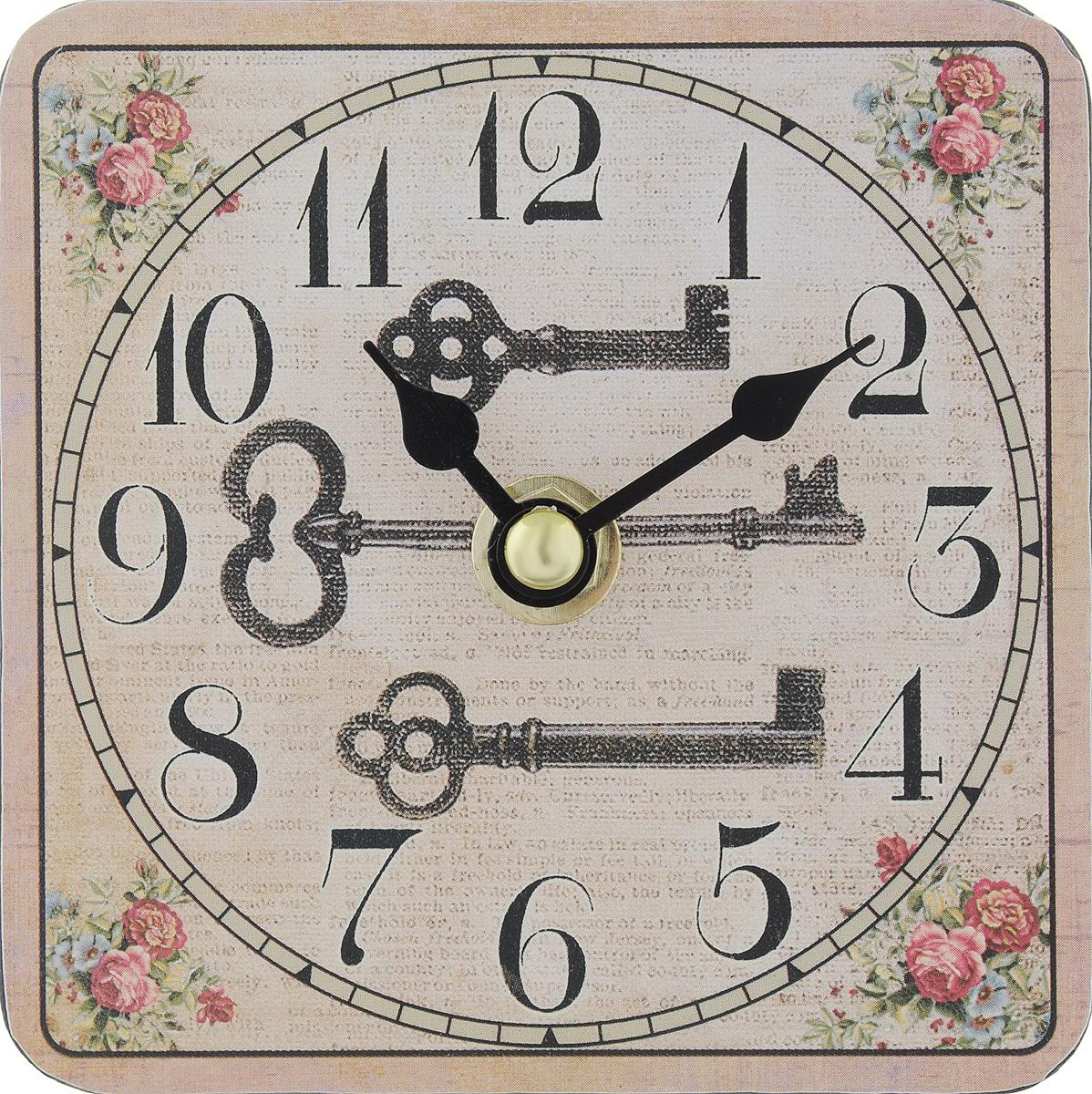 Часы настольные Феникс-Презент Волшебный ключик, 10 х 10 см300074_ежевикаНастольные часы квадратной формы Феникс-Презент Волшебный ключик своим эксклюзивным дизайном подчеркнут оригинальность интерьера вашего дома. Циферблат оформлен изображением цветов и тремя ключами. Часы выполнены из МДФ. МДФ (мелкодисперсные фракции) представляет собой плиту из запрессованной вакуумным способом деревянной пыли и является наиболее экологически чистым материалом среди себе подобных. Изделие имеет две стрелки - часовую и минутную.Настольные часы Феникс-Презент Волшебный ключик подходят для кухни, гостиной, прихожей или дачи, а также могут стать отличным подарком для друзей и близких.ВНИМАНИЕ!!! Часы работают от сменной батареи типа АА 1,5V (в комплект не входит).