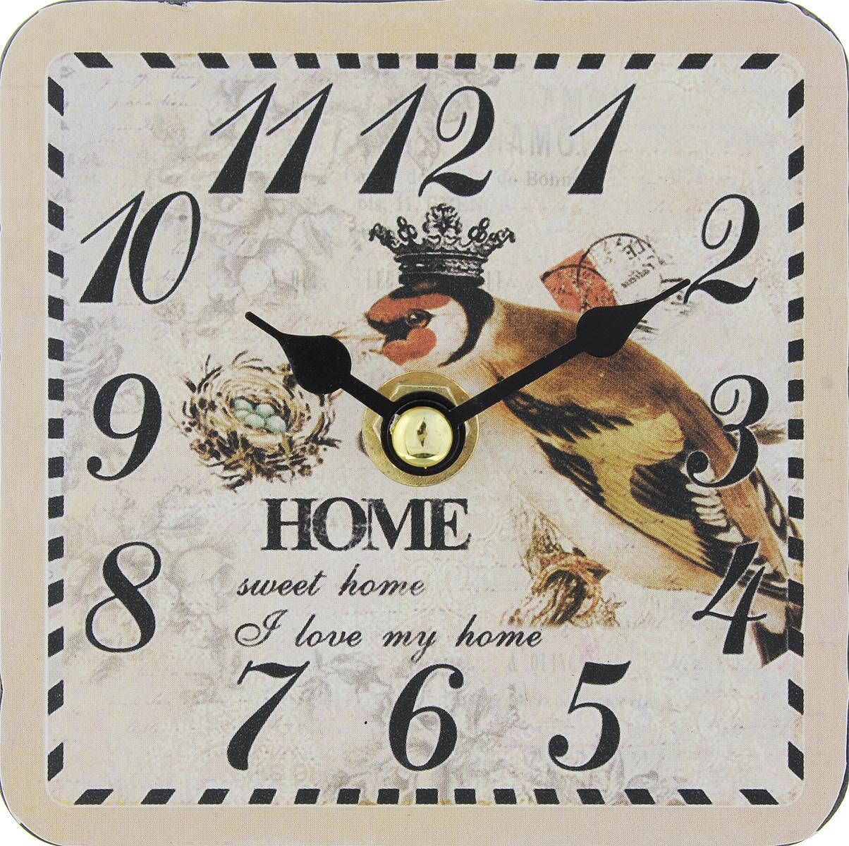Часы настольные Феникс-Презент Король птиц, 10 х 10 см300074_ежевикаНастольные часы квадратной формы Феникс-Презент Король птиц своим эксклюзивным дизайном подчеркнут оригинальность интерьера вашего дома. Циферблат оформлен изображением птицы. Часы выполнены из МДФ. МДФ (мелкодисперсные фракции) представляет собой плиту из запрессованной вакуумным способом деревянной пыли и является наиболее экологически чистым материалом среди себе подобных. Часы имеют две стрелки - часовую и минутную.Настольные часы Феникс-Презент Король птиц подходят для кухни, гостиной, прихожей или дачи, а также могут стать отличным подарком для друзей и близких.ВНИМАНИЕ!!! Часы работают от сменной батареи типа АА 1,5V (в комплект не входит).