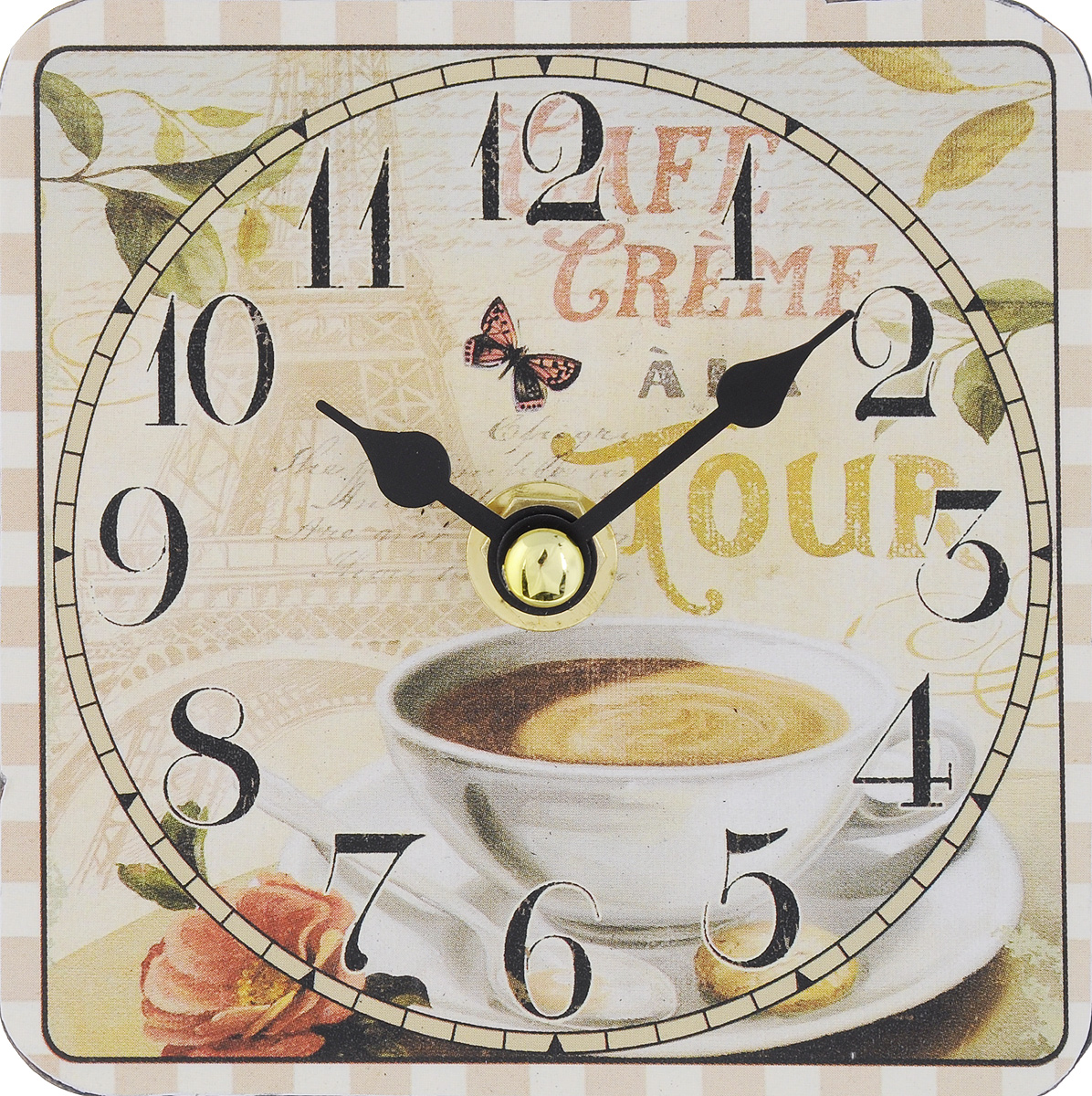 Часы настольные Феникс-Презент Чашка кофе, 10 х 10 см54 009312Настольные часы квадратной формы Феникс-Презент Чашка кофе своим эксклюзивным дизайном подчеркнут оригинальность интерьера вашего дома. Циферблат оформлен изображением чашки с кофе. Часы выполнены из МДФ. МДФ (мелкодисперсные фракции) представляет собой плиту из запрессованной вакуумным способом деревянной пыли и является наиболее экологически чистым материалом среди себе подобных. Часы имеют две стрелки - часовую и минутную.Настольные часы Феникс-Презент Чашка кофе подходят для кухни, гостиной, прихожей или дачи, а также могут стать отличным подарком для друзей и близких.ВНИМАНИЕ!!! Часы работают от сменной батареи типа АА 1,5V (в комплект не входит).