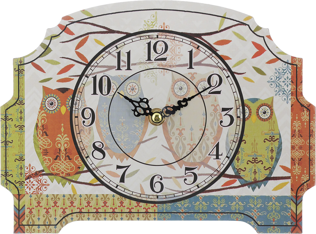 Часы настольные Феникс-Презент Четыре совушки, 24 х 18 см300074_ежевикаНастольные часы Феникс-Презент Четыре совушки своим эксклюзивным дизайном подчеркнут оригинальность интерьера вашего дома.Часы выполнены из МДФ. МДФ (мелкодисперсные фракции) представляет собой плиту из запрессованной вакуумным способом деревянной пыли и является наиболее экологически чистым материалом среди себе подобных. Часы имеют две стрелки - часовую и минутную.Настольные часы Феникс-Презент Четыре совушки подходят для кухни, гостиной, прихожей или дачи, а также могут стать отличным подарком для друзей и близких.ВНИМАНИЕ!!! Часы работают от сменной батареи типа АА 1,5V (в комплект не входит).