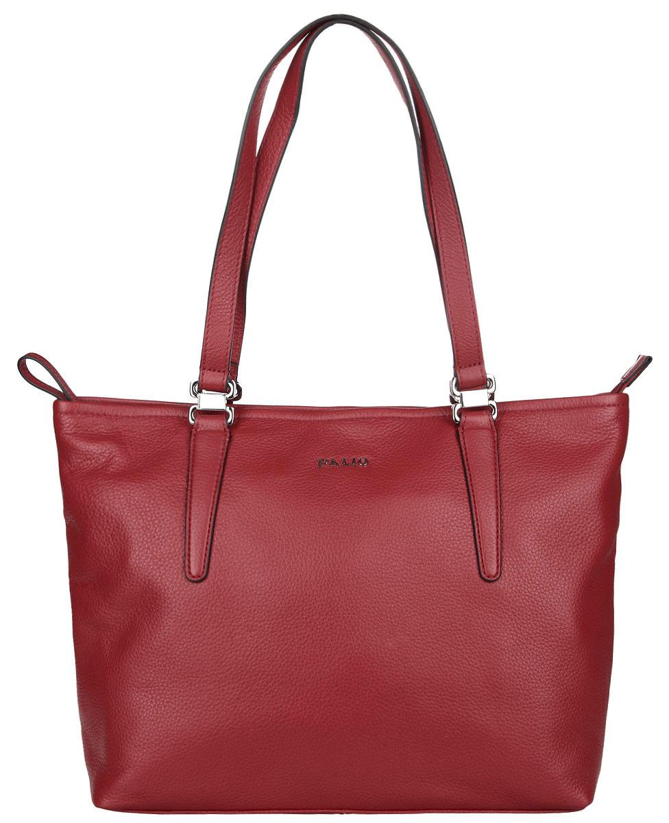 Сумка женская Palio, цвет: красный. 14342A-335S76245Стильная женская сумка Palio выполнена из натуральной кожи с зернистой фактурой, оформлена металлической фурнитурой с символикой бренда.Изделие содержит одно отделение, которое закрывается на молнию. Внутри расположены два накладных кармашка для мелочей, карман-средник на молнии и врезной карман на молнии. Снаружи, на задней стороне сумки, расположен врезной карман на застежке-молнии. Сумка оснащена двумя практичными ручками для переноски.Оригинальный аксессуар позволит вам завершить образ и быть неотразимой.