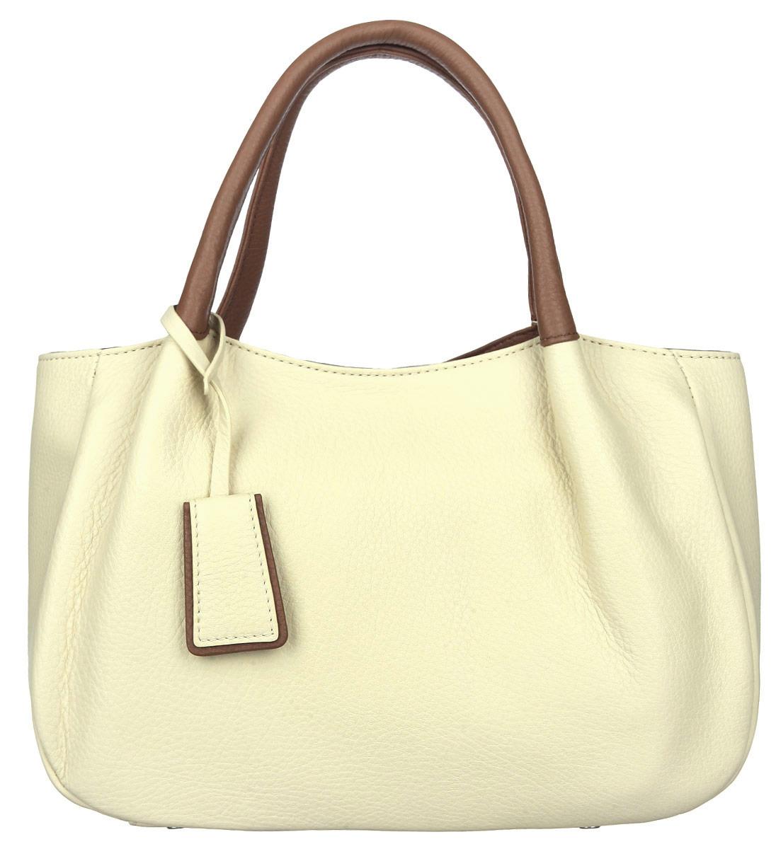 Сумка женская Palio, цвет: коричневый, светло-желтый. 13684AS3-W1-152/774967-637T-17s-01-42Стильная женская сумка Palio выполнена из натуральной кожи с зернистой фактурой, оформлена металлической фурнитурой.Изделие содержит одно отделение, которое закрывается на молнию. Внутри расположены: два накладных кармашка для мелочей, карман-средник на молнии и врезной карман на молнии. На задней стороне сумки, расположен врезной карман на застежке-молнии. Сумка оснащена двумя практичными ручками для переноски и съемным плечевым ремнем регулируемой длины.Оригинальный аксессуар позволит вам завершить образ и быть неотразимой.