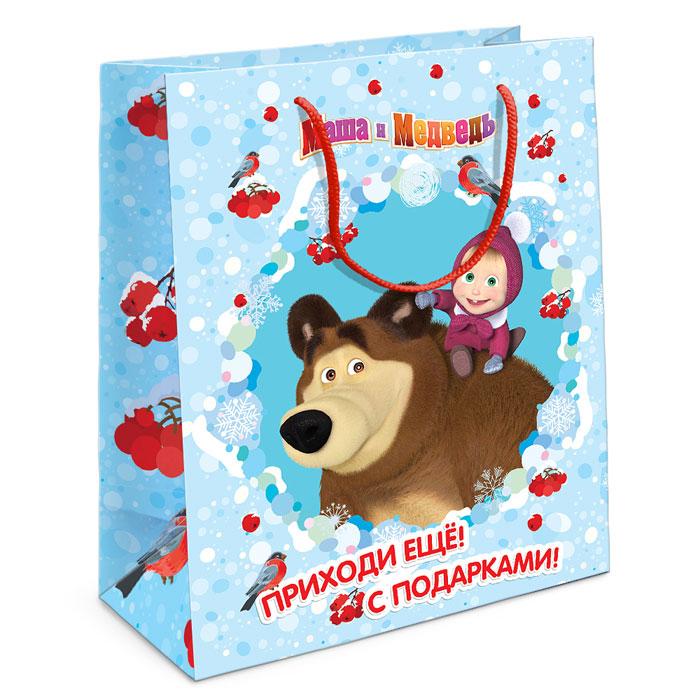 Маша и Медведь Пакет подарочный Маша новогодняя 23 см х 18 см х 10 см, Росмэн