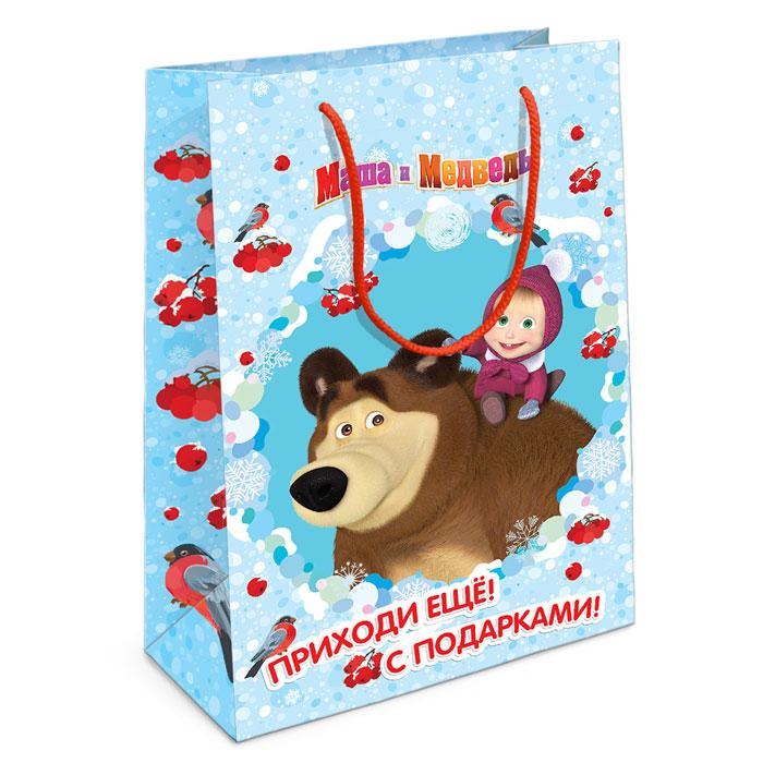 Маша и Медведь Пакет подарочный Маша новогодняя 35 см х 25 см х 9 см, Росмэн