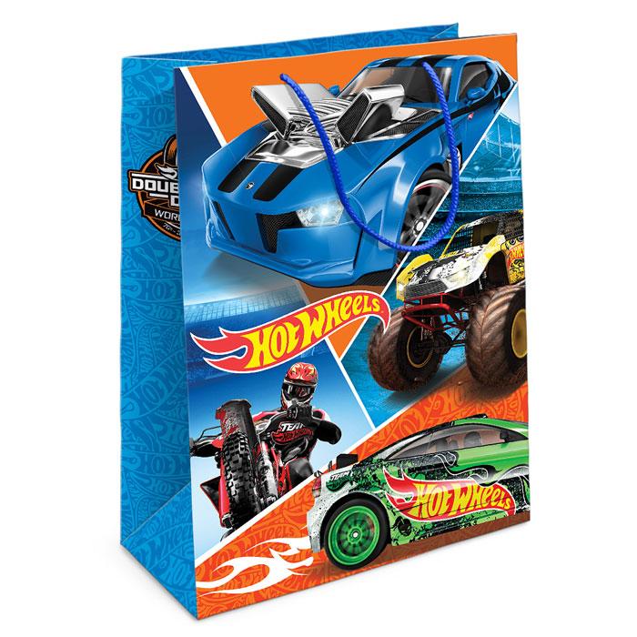 """Стильный подарочный пакет """"Hot wheels"""" ярко и модно преобразит любой подарок для мальчика. Размер бумажного пакета: 35х25х9 см."""