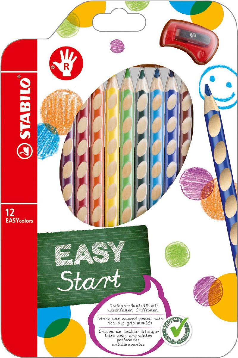 """Набор цветных карандашей """"Stabilo Easycolors"""" предназначен для правшей. Корпус карандашей разработан с учетом особенностей строения руки ребенка. Специальные углубления на корпусе карандаша подсказывают ребенку, как располагать большой и указательный пальцы, прививая навык правильно держать пишущий инструмент. Расположение углублений по всей длине корпуса обеспечивает правильное удержание карандаша ребенком при письме и рисовании даже после заточки карандаша. Трехгранная форма карандаша соответствует естественному захвату руки, уменьшая мышечные усилия, необходимые для его удержания. Ребенок может рисовать длительное время без ощущения усталости. Утолщенная форма корпуса облегчает удержание карандашей детьми с недостаточно развитой мелкой моторикой руки. В набор входят карандаши 12 цветов и точилка."""