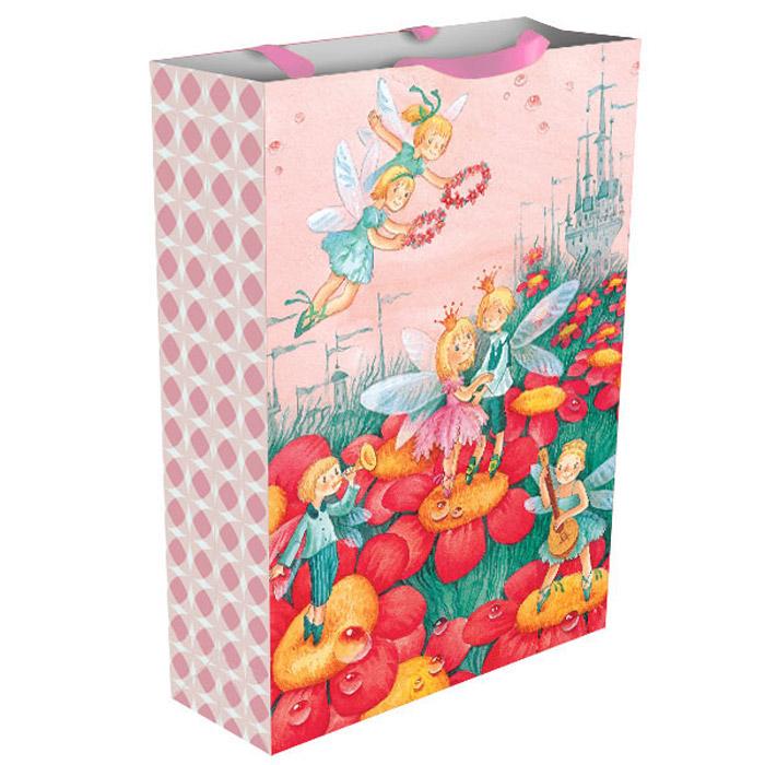 """Яркий подарочный пакет """"Дюймовочка"""" празднично украсит ваш подарок. Размер бумажного пакета: 35х25х9 см."""