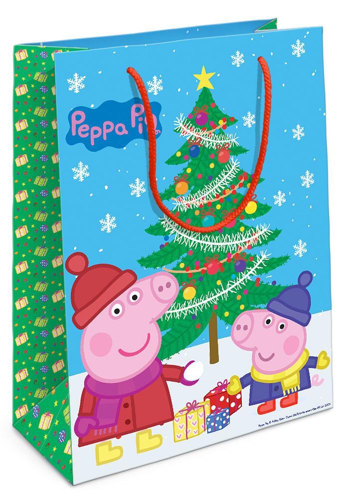Peppa Pig Пакет подарочный Пеппа и ёлка 35 см х 25 см х 9 см, Росмэн
