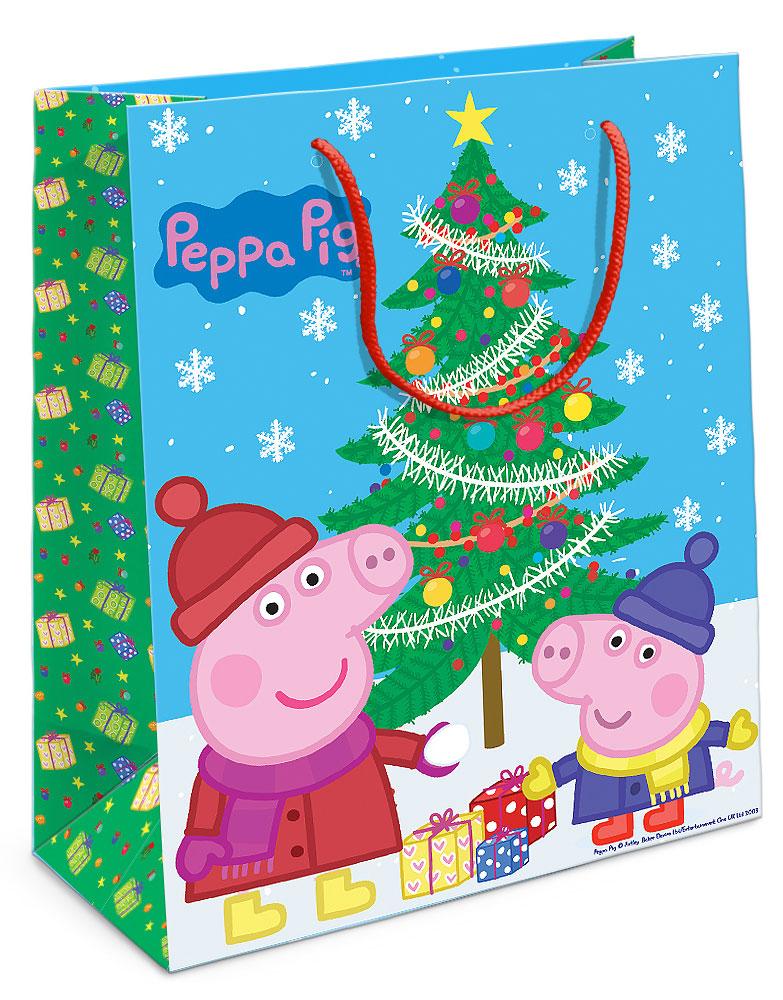 Peppa Pig Пакет подарочный Пеппа и ёлка 23х18х10 см -  Подарочная упаковка