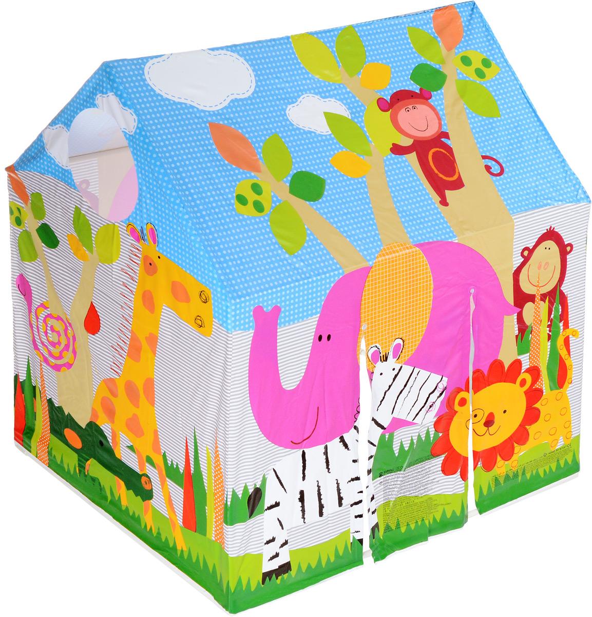 """Палатка для игр Intex """"Домик"""" - это маленький мирок, где ребенок сможет вдоволь поиграть и пофантазировать. Собрать игровой домик просто: детали пластикового каркаса легко крепятся друг к другу, ткань (винил) быстро одевается на каркас. При сборке вы сможете воспользоваться инструкцией. Игровая палатка дна не имеет. Палатку можно ставить как в помещении, так и на свежем воздухе. Также игровая палатка имеет окошки, в которые, например, можно бросать мячики. Игровая палатка """"Домик"""" прослужит долгое время, благодаря своему качеству!"""
