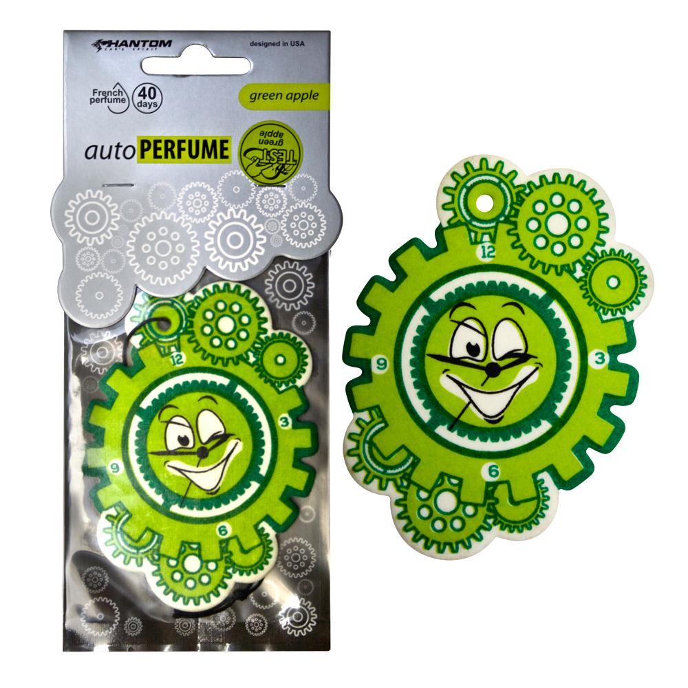 """Ароматизатор PHANTOM Auto Perfume, зеленое яблокоSVC-300Новая серия подвесных автомобильный ароматизаторов """"AutoPerfume"""" удивит уникальным дизайном и качеством подобранных ароматов. Выбрать свой индивидуальный аромат помогут тестеры, расположенные на каждой упаковке. Богатая палитра цветовых решений поможет каждому найти подходящее оформление. Серия является официально зарегистрированной и сертифицированной на территории России, оставаясь уникальной и неповторимой. Линейка регулярно обновляется, пополняясь даже лимитированными коллекциями. Аромат зеленого яблока освежит и добавит яркости даже в пасмурный день. Изготовление из высококачественных материалов обеспечивает изделие высоким сроком службы и износостойкостью. Французский парфюмерный дом, поставляющий отдушку для ароматизаторов, является одним из ведущих в своем деле. Материал: высококапиллярный картон; Отдушки: поставляются от парфюмерного дома Франции; Фирменная яркая упаковка с интересной вырубкой на лицевой части привлечет внимание на полке!"""