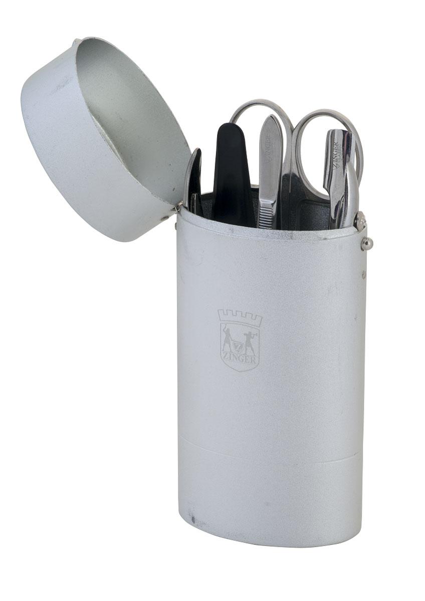 Zinger Маникюрный набор (стакан) zo-64256-S25972Ман.набор 5 предметов (кусачки маникюрные, ножнцы кутикульные, металлический двусторонний шабер, пилка алмазная, пинцет), Футляр - металлический тубус. Цвет инструментов - глянцевое серебро