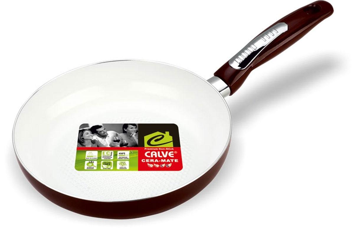 Сковорода Calve, с керамическим покрытием, цвет: коричневый. Диаметр 20 см54 009312Сковорода Calve выполнена из высококачественного алюминия с керамическим покрытием, благодаря чему пища не пригорает и не прилипает во время готовки. А также изделие имеет внешнее элегантное жаростойкое покрытие. Сковорода оснащена удобной бакелитовой ручкой с отверстием для подвешивания. Подходит для всех типов плит. Можно мыть в посудомоечной машине. Диаметр сковороды (по верхнему краю): 20 см. Высота стенки: 4,5 см. Длина ручки: 19 см. Диаметр основания: 15 см. Толщина стенок: 2,5 мм. Толщина дна: 4 мм.